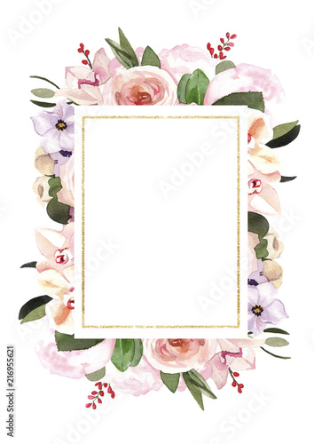 Hand Painted Watercolor Pastel Flowers Illustration Wedding