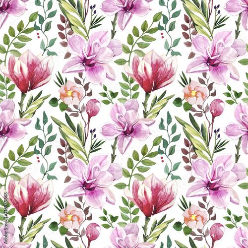recznie-malowany-akwareli-botanika-kwiat-i-opuszcza-ilustracyjnego-bezszwowego-wzor-na-bialym-tle