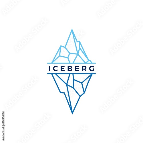 Carta da parati iceberg logo geometric line outline monoline illustration
