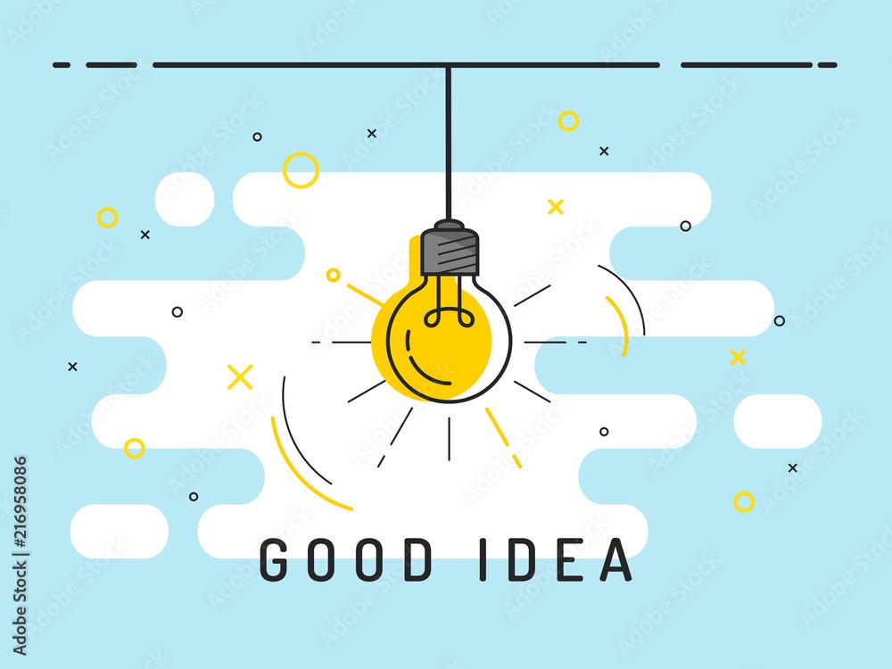Fototapety, obrazy: Light bulb with rays shine. Idea symbol.Trendy flat vector on blue background. Vector Illustration.
