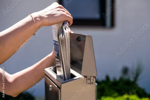 Fototapeta Newspaper in a mailbox