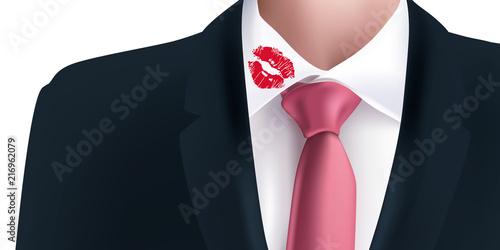 Fotografie, Obraz  baiser - chemise - adultère - costume - trace - rouge à lèvre - couple - col de