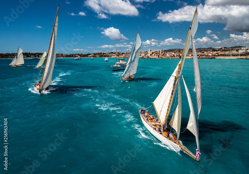 Fototapeta French Riviera - old sail race start aerial view with Antibes view