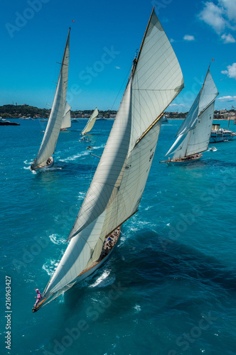 Valokuva French Riviera - old sail big boat race start aerial view