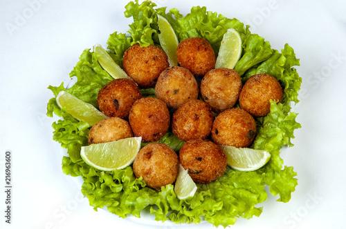 Deurstickers Buffet, Bar salt cod fritters