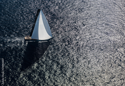 French Riviera - St Tropez - superyacht triangle shadow aerial view