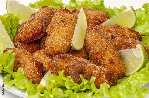 Foto op Aluminium Buffet, Bar Breaded chicken skewer