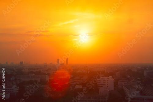 Fototapeta  Thailand city view in heatwave summer season high temperature from global warmin