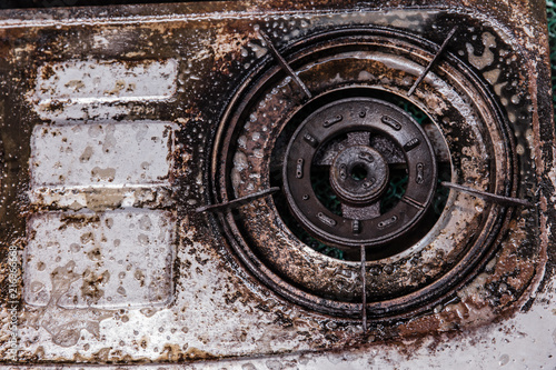 dirty grease oil grungy old gas stove unclean unhealthy kitchen