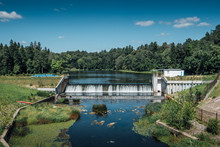 Small Ancient Dam On The River, Hydroelectric Power Station