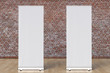 canvas print picture -  blank roll up banner display stands loft interior