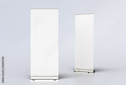 Fotografie, Obraz  blank roll up banner display stands on white