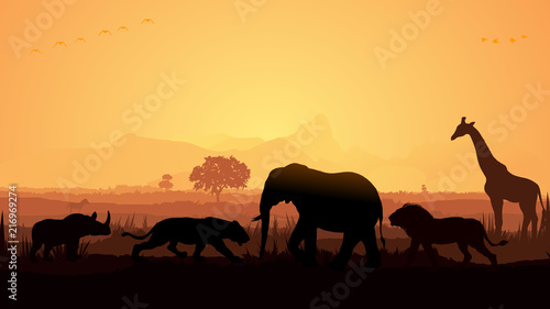 Wild animals silhouette, birds, elephant, deer