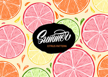 Fresh Colorful Summer Citrus Illustration And Lettering
