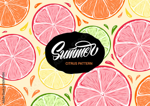 fototapeta na ścianę Fresh colorful summer citrus illustration and lettering