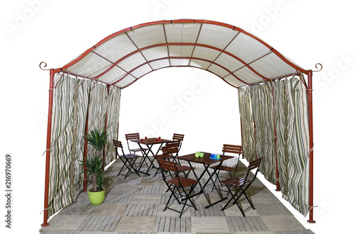 Staande foto Muziekwinkel Big garden tent and garden furniture isolated on white background