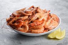 Big Boiled Shrimps In White Pl...