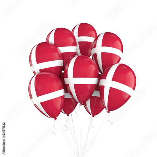 Wallpaper Mural Denmark flag bunch of balloons on string. 3D Rendering