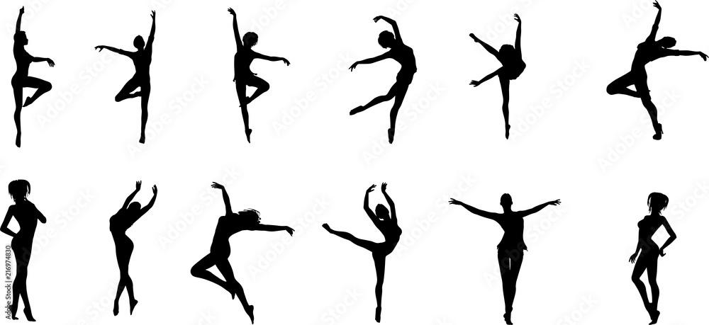Fototapety, obrazy: 女性バレエダンサーのシルエット