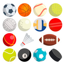 Sport Balls Set Vector. Round Sport Equipment. Game Classic Balls. Gaming Icons. Soccer, Rugby, Baseball, Basketball, Tennis, Puck, Volleyball. Isolated Illustration
