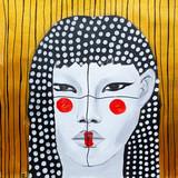 dipinto olio su tela donna con un make up creativo  - 216976462