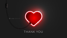 3d Neon Heart Sign. Realistic Vector Banner With Lighting Red Neon Tube On Black Background. Conceptual Vector Illustration