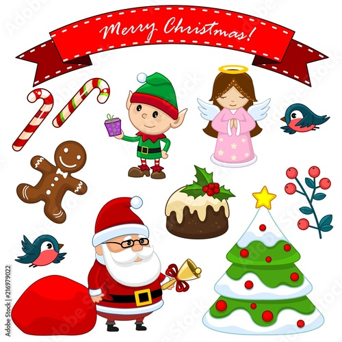 Set Of Objects For Design Elf With A Gift An Angel Santa Claus With