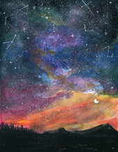 Starry Night Landscape With Milky Way Galaxy Sky And Moon Colorful Gouache Watercolor