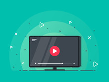 Video Tutorials Icon Concept. Video Conference And Webinar Icon, Internet And Video Services. Trendy Flat Vector On Green Background. Vector Illustration.