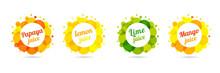 Fresh Juice Papaya, Lemon, Lime, Mango In Label Splash Set Design. Orange, Yellow And Green Drops Bubbly Logo On White Background. Apple And Orange Juice Design, Creative Vector Illustration