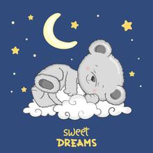 Cute Teddy Bear Sleeping On Th...