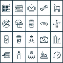Transportation Icons Set With Luggage Trolley, Escalator, Airline Schedule And Other Present  Elements. Isolated Vector Illustration Transportation Icons.