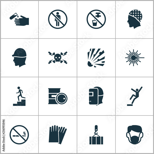 Photo  Safety icons set with light, high voltage, hand protection cigarette forbidden  elements