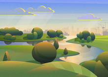 Colorful  Design Of Green Lands With River On Background Of Industrial City Under Blue Sky With Film Noise Effect.