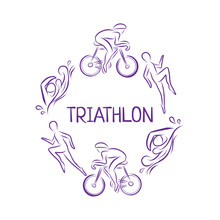 Triathlon Hand Drawn Icon For Designing Sport Event Or Marathon Or Competition Or Triathlon Team Or Club Materials, Check List, Invitation, Poster, Banner, Logo, Printing Or Website