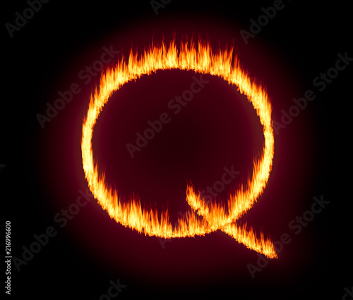 Photo Q Anon deep state conspiracy concept formed from flames