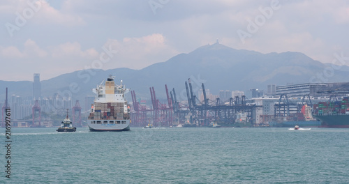 Fotobehang Poort Kwai Tsing Container Terminal in Hong Kong