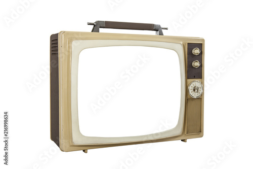 Photo Vintage portable Television isolated on white with cut out screen