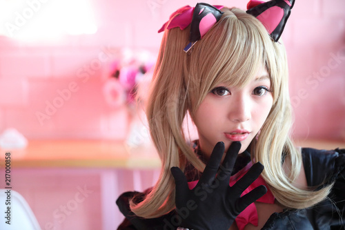 Photo  Portrait of Japan anime cosplay girl in pink tone