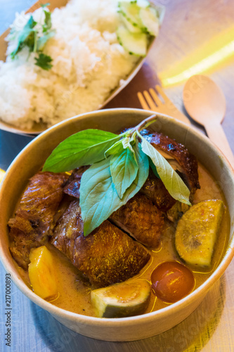 traditional Thai cuisine, red curry with roasted duck