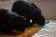 Muslim Mother And Daughter Praying Salah
