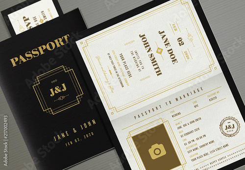 art deco passport wedding invitation layout  buy this