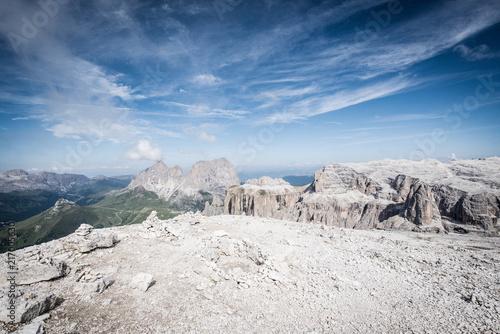 Deurstickers Blauwe hemel Moon landscape, at the top of Sass Pordoi, Dolomites, Italian Alps