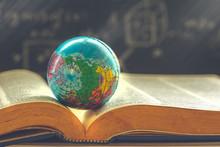 World Globe On  Book. Education School Concept