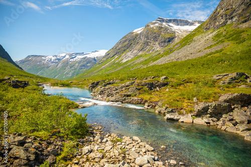 Poster Natuur Beautiful mountain river near Trollstigen in Norway, Scandinavia