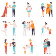 People giving and receiving gifts set, men, women and kids celebrating holidays vector Illustrations on a white background