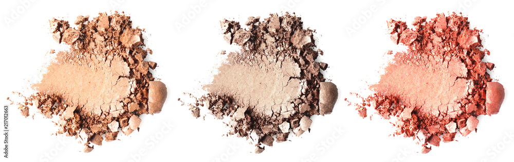 Fototapety, obrazy: Crushed makeup products on white background. Color set of eye shadows