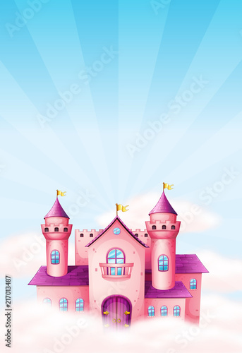 Poster Pony Pink fairy castle background