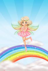 A cute fairy on rainbow