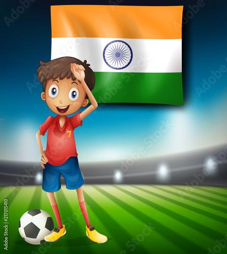 Staande foto Kids India football player template